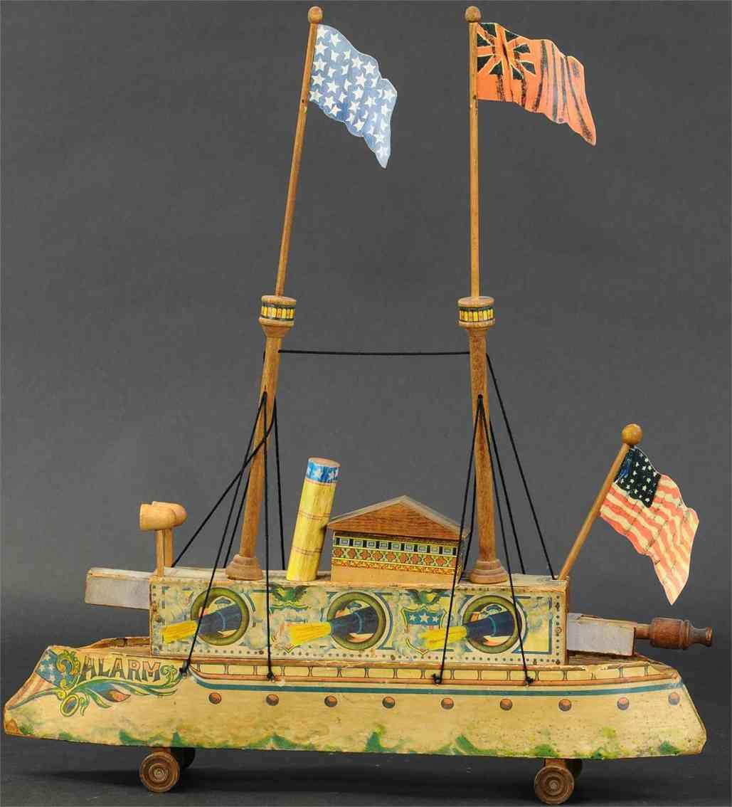 bliss rufus holz spielzeug schiff feuerndes kanonenschlachtschiff alarm