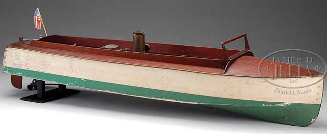 boucher he mfg co wooden toy ship steam speedboat. believed to be the largest of the live stea