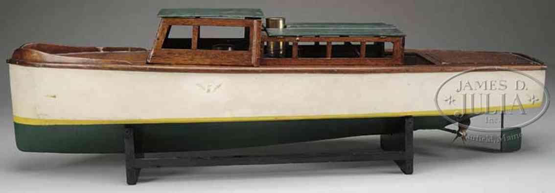 boucher he mfg co holz spielzeug schiff barrakuda kajütenboot, wohl das größte von bouchers dampfboo