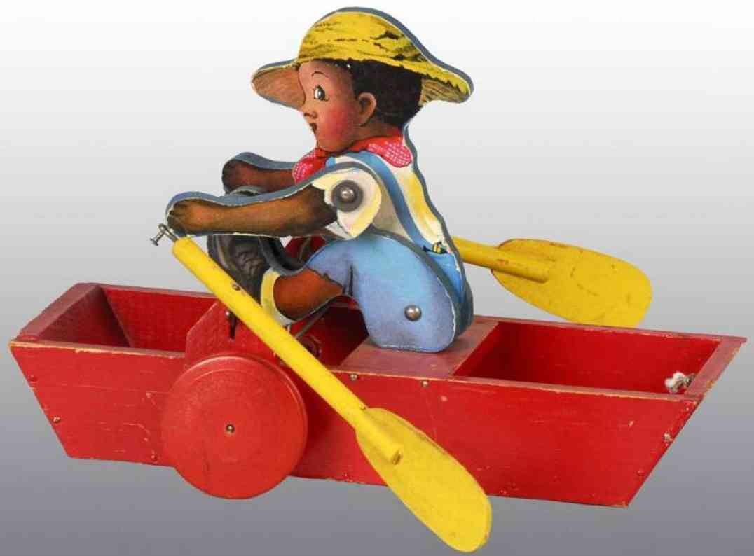 fisher-price 155 wooden toy boat skipper sam with oars