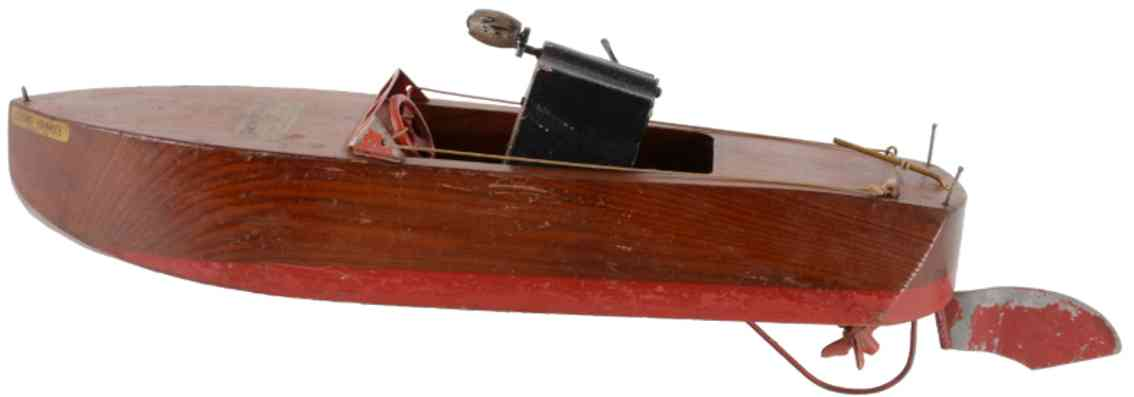 jacrim manufacturing co. 65 pine wood toy ship seaworthy motorboat flying yankee