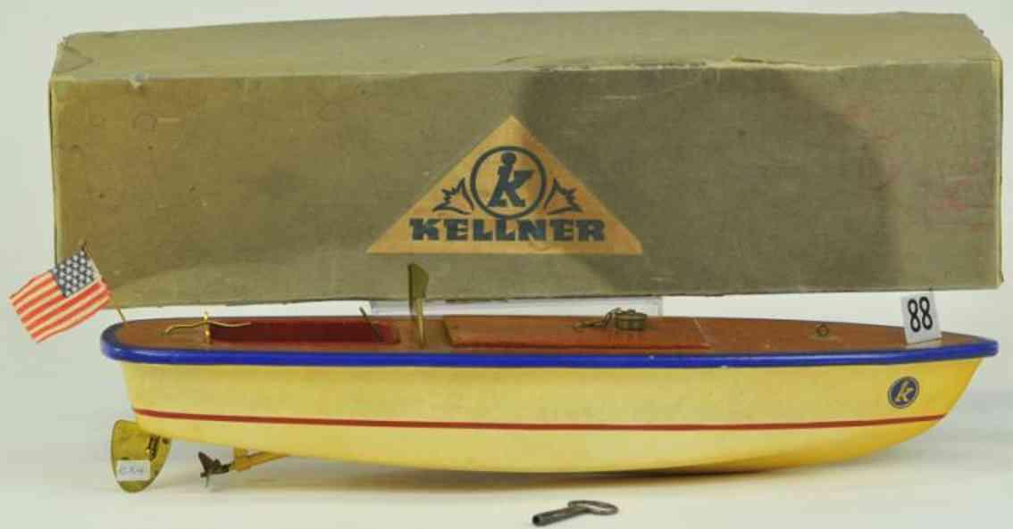 kellner hans-georg 88 wooden toy speedboat clockwork