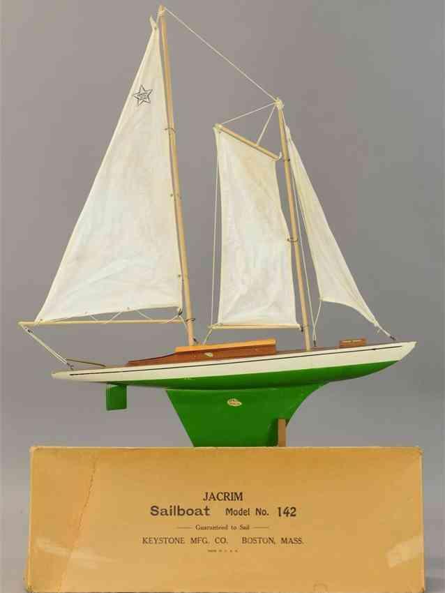 keystone 142 holz spielzeug jacrim segelboot 2 masten 3 weisse baumwollsegel