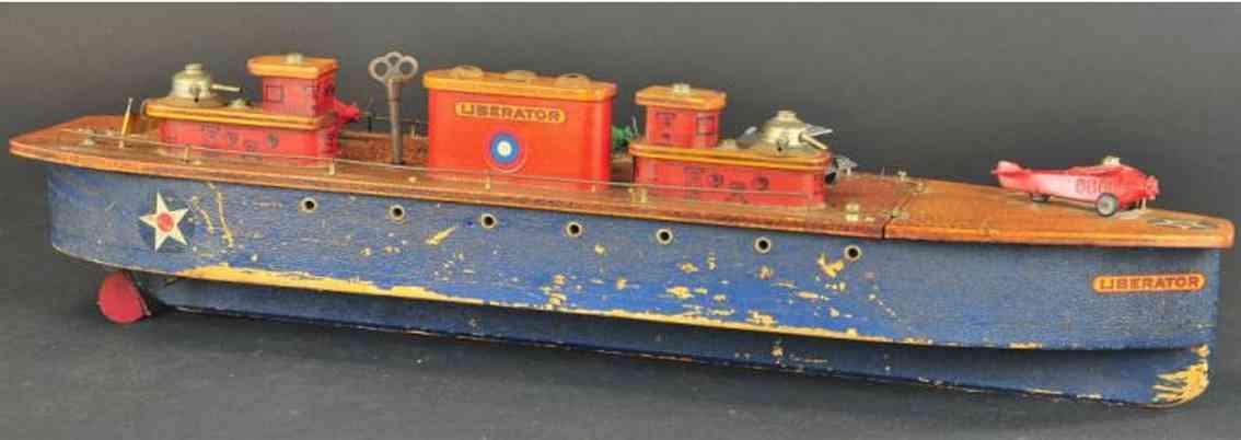 keystone holz spielzeug schiff us-marine flugzeugträger aus holz in blau und grau mit vier