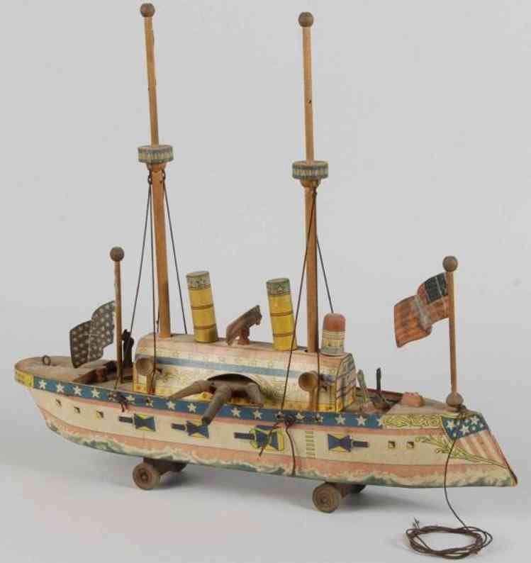 reed toy co toy paper on wood battleship