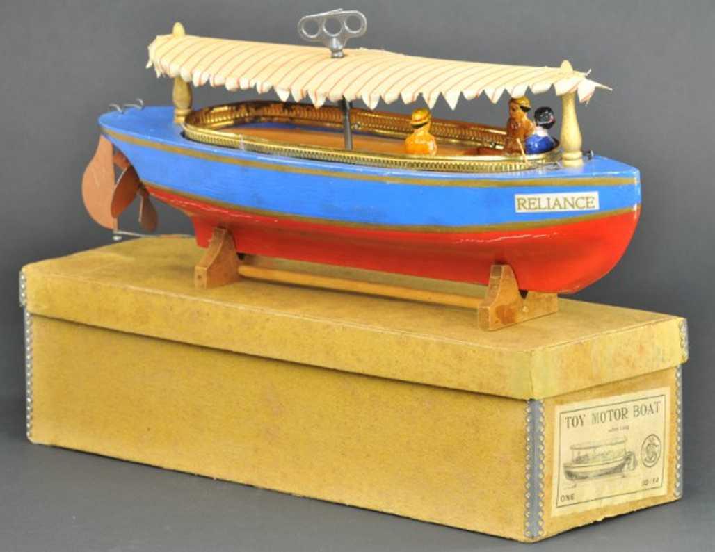 schoenhut 00/14 holz spielzeug schiff motorboot reliance uhrwerk