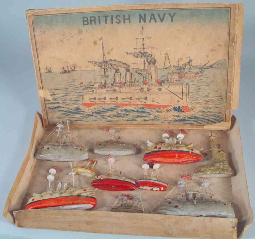 unknown holz spielzeug schiff british navy set im kasten als andenken an die weiße flotte,