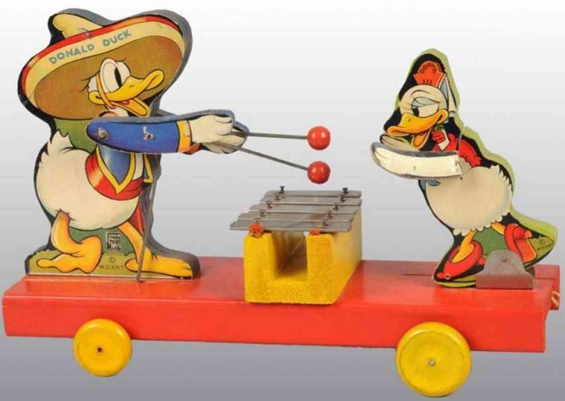 fisher-price 160 ziehspielzeug donald und donna duck  papier auf holz
