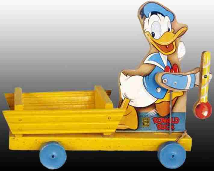 fisher-price 432 holz ziehspielzeug donald duck tambourmajor