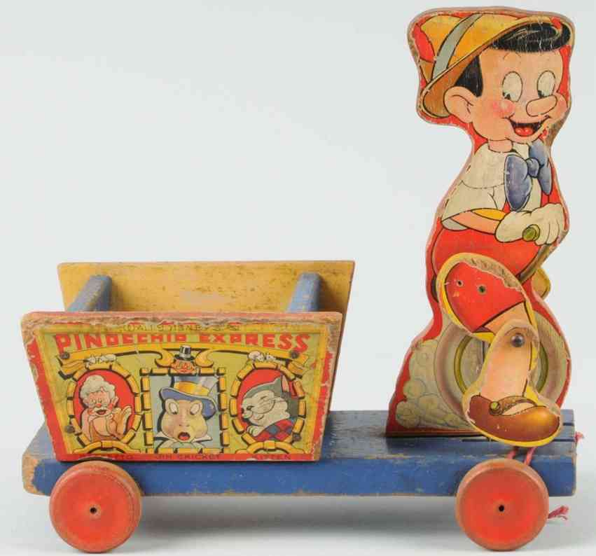 fisher-price 720 wooden pull toy disney pinocchio express