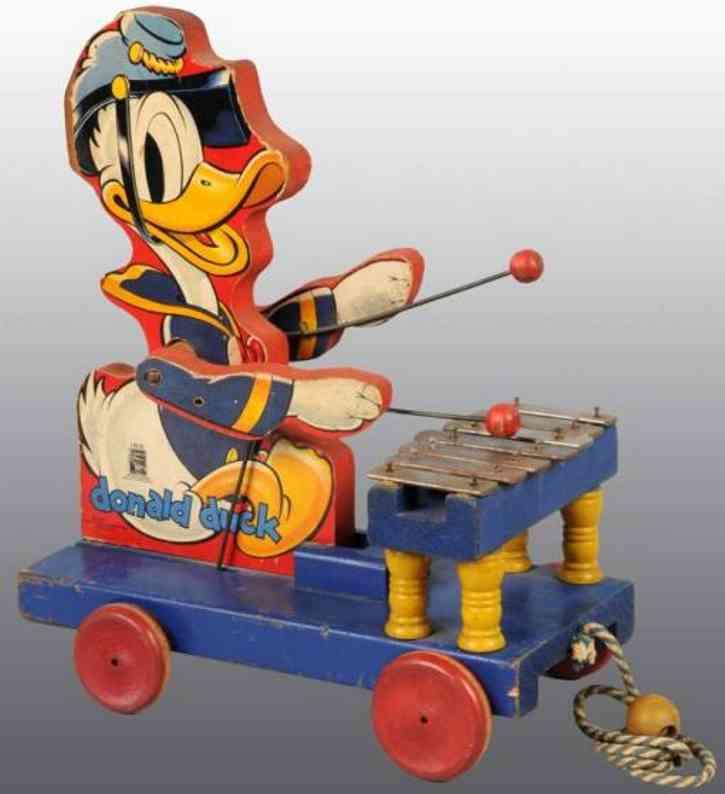 fisher-price 185 holz ziehspielzeug donald duck xylophone platform raeder