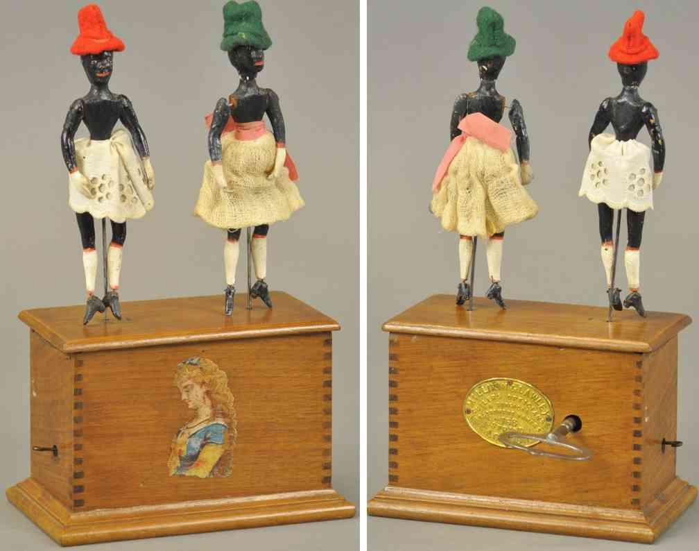 automatic toy works holz spielzeug figur juba taenzer uhrwerk zwei maedchen