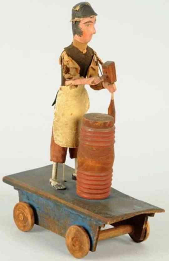 crandall covington wooden toy blacksmith on wheeled platform