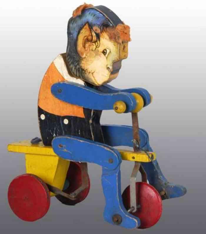 fisher-price 104 holz spielzeug affe auf dreirad