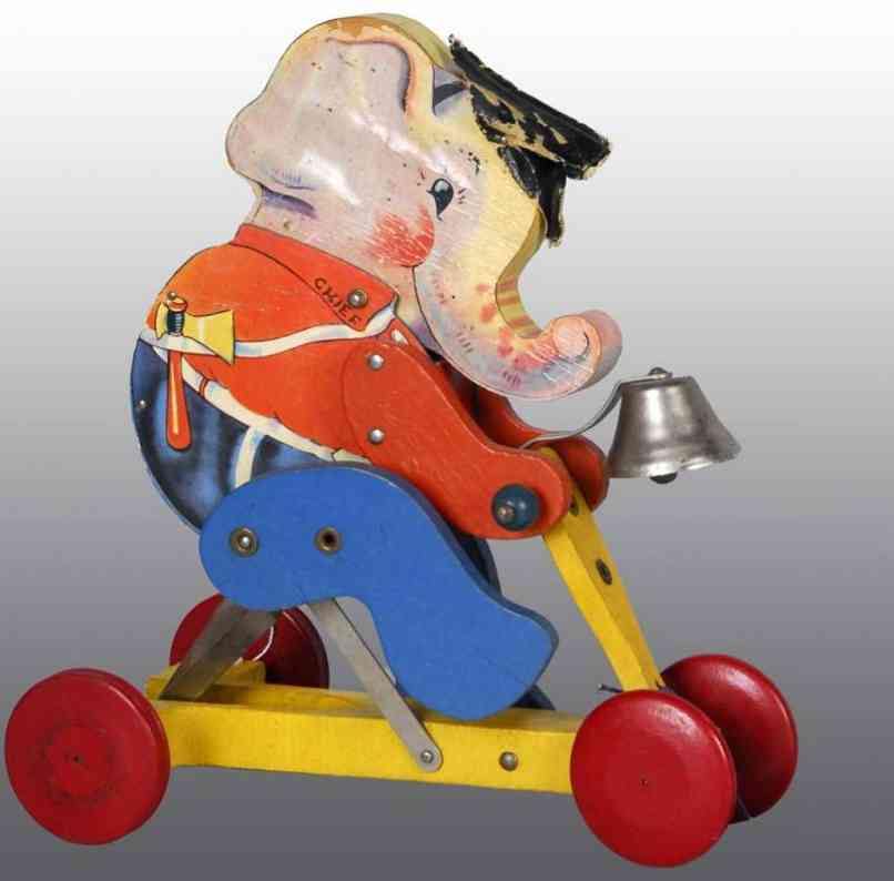 fisher-price 110 holz spielzeug elefant mit wachstuchhut und blechglocke