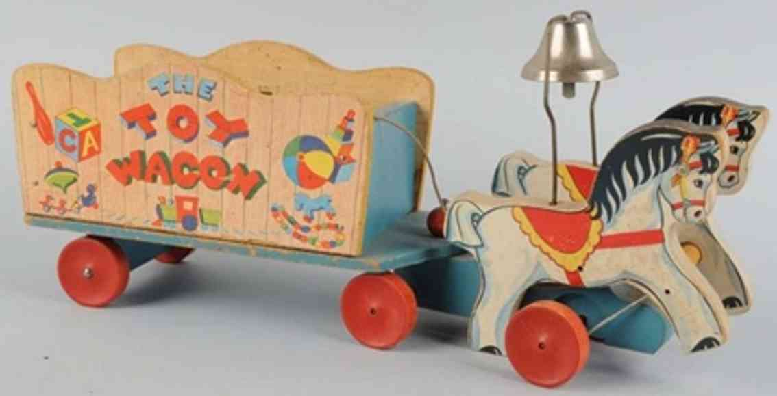 fisher-price 171 wooden pull toy wagon blue base