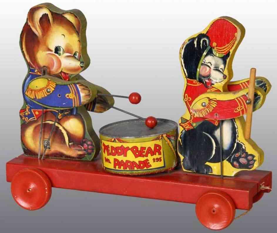 fisher-price 195 holz spielzeug teddybaer parade