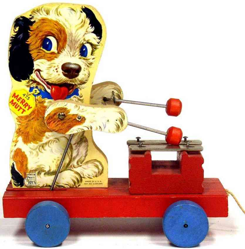 fisher-price 473 wooden toy merry mutt red platform blue disc wheels