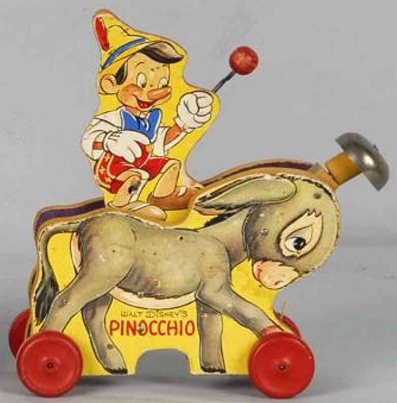 fisher-price 494 holz ziehspielzeug pinnochio auf esel