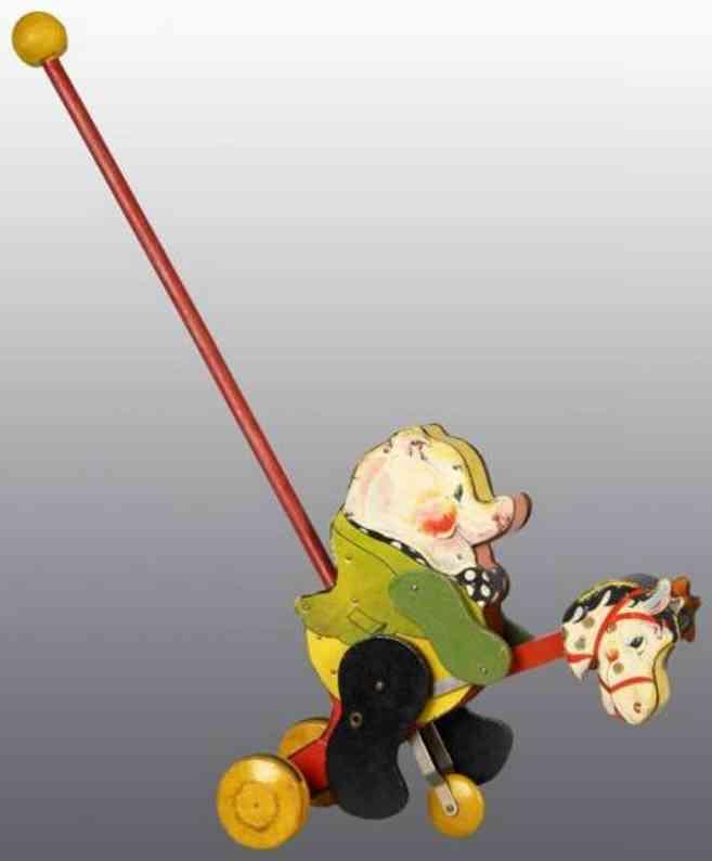 fisher-price 500 holz spielzeug figur schwein steckpferd stock
