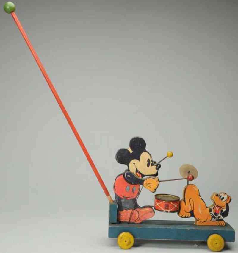 fisher-price 530 wooden toy mickey mouse band pluto drum mallots cymbol