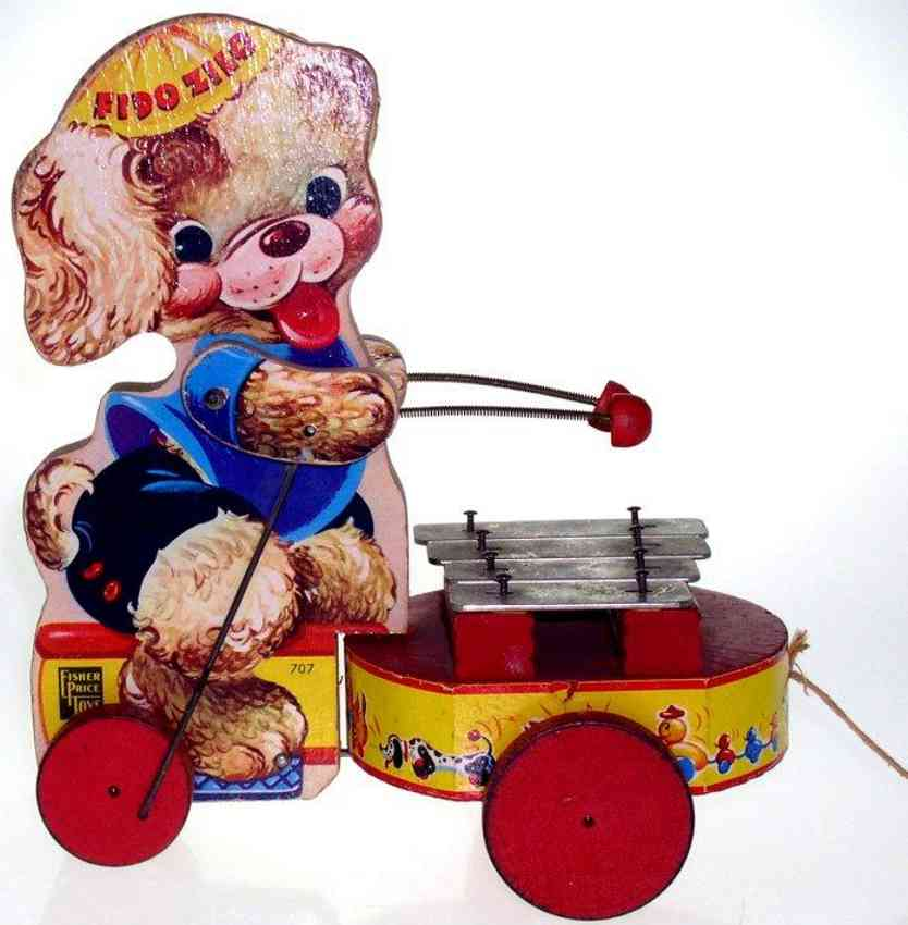 fisher-price 707 wooden toy fido zilo bear with xylophone