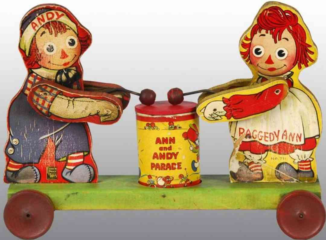fisher-price 711 An wooden toy raggedy ann & andy parade