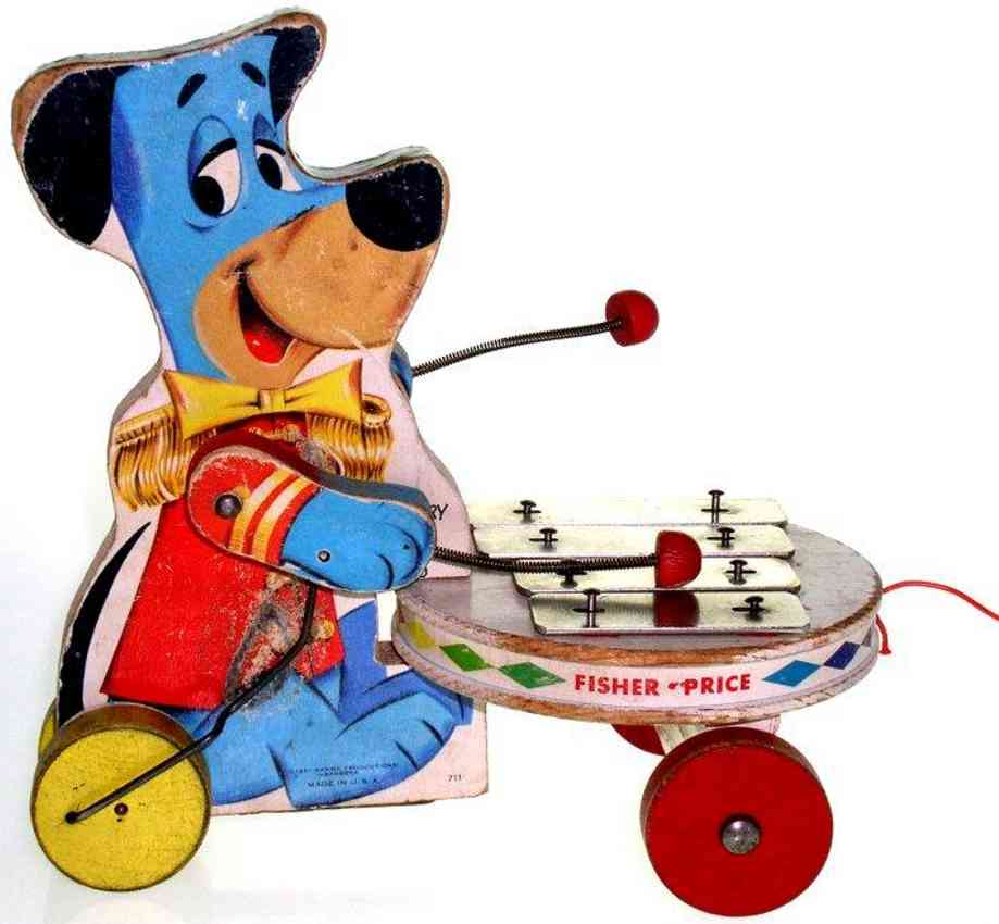 fisher-price 711 wooden toy huckleberry hound dog zylophone