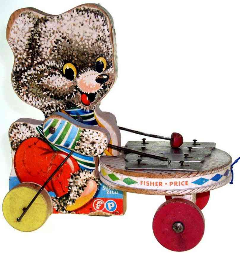 fisher-price 738 wooden toy shaggy zilo baer with zylophone