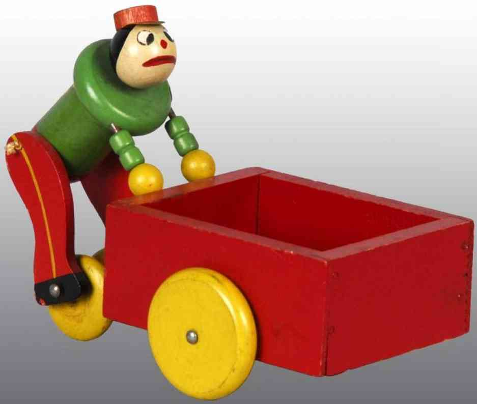 fisher-price 740 wooden toy push cart pete with hat
