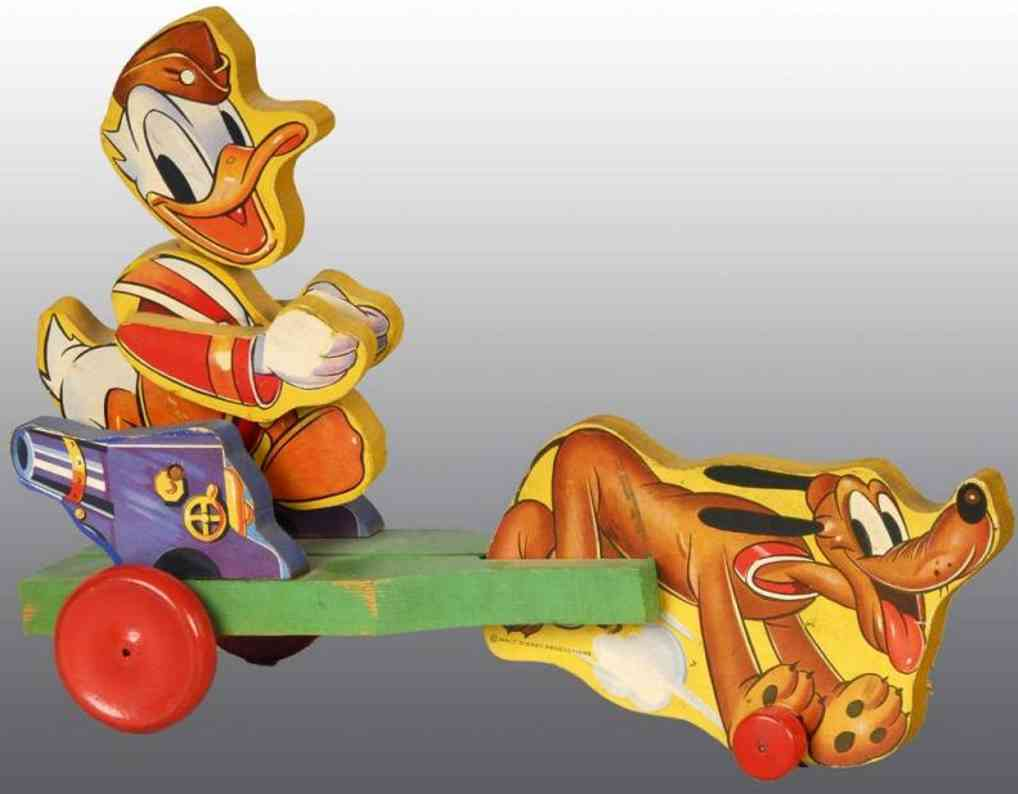 fisher-price 744 wooden toy disney donald duck with pluto
