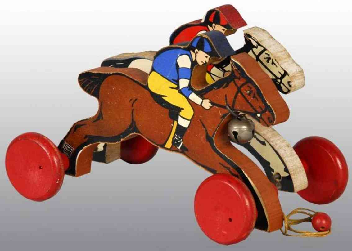 fisher-price 760 wooden toy racing ponies balls bell