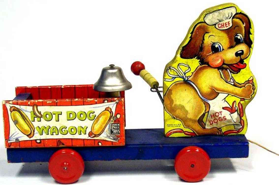 fisher-price 764 wooden toy hot dog wagon