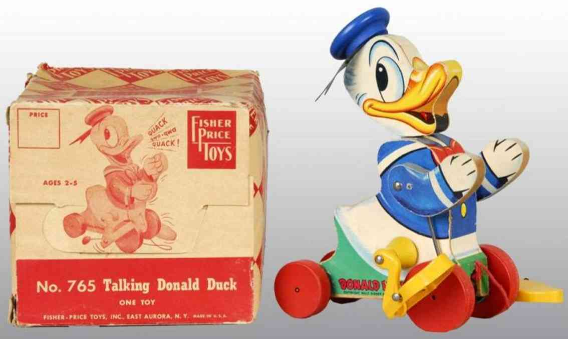 fisher-price 765 wooden toy talking donald duck pull toy