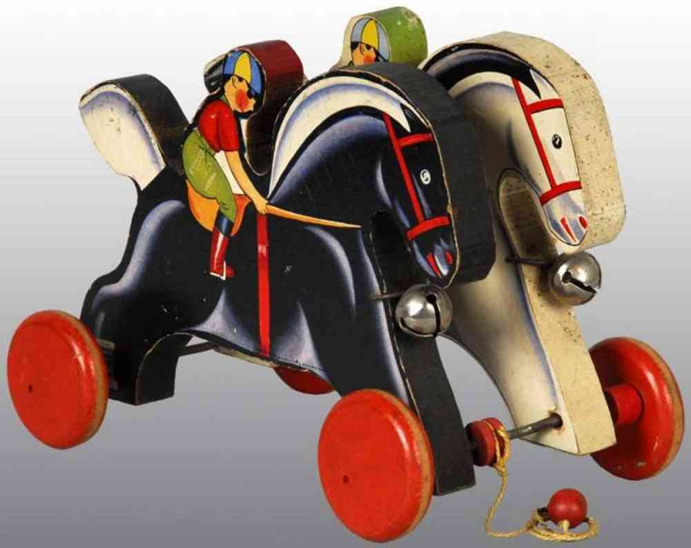fisher-price 766 wooden toy prancing horses with bell