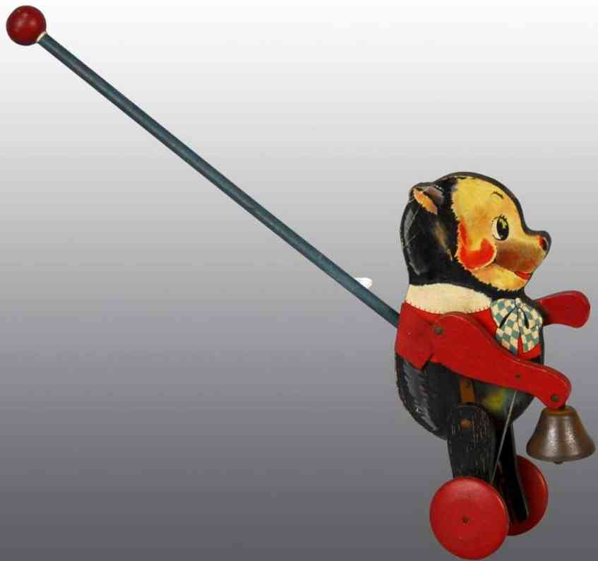 fisher-price 777 wooden toy pushy bruno with stick and bell