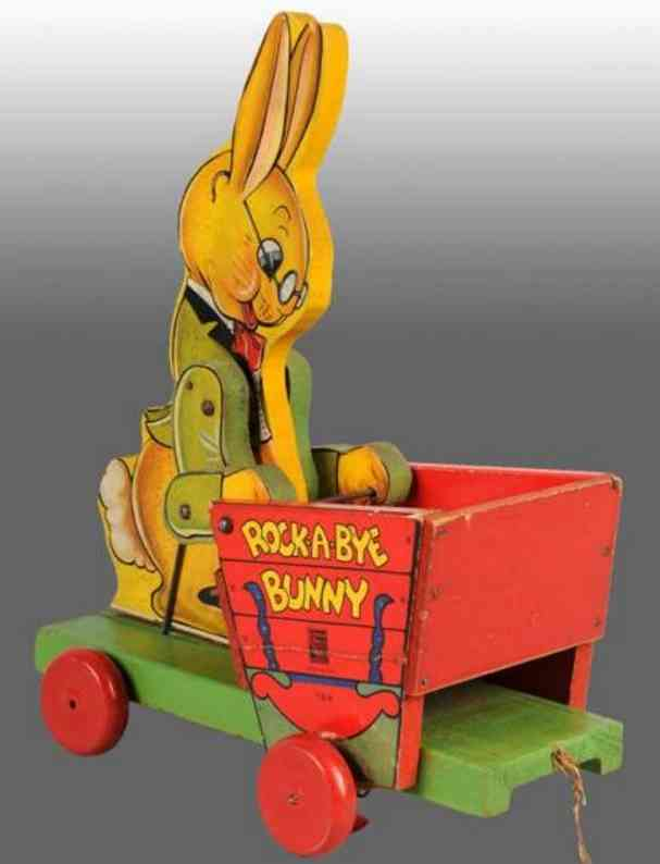 fisher-price 788 wooden toy rock-a-bye bunny cart platform