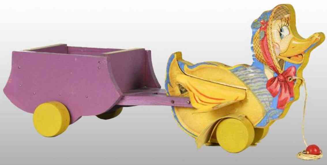 fisher-price 799 wooden toy chick pulling car of wood with oilcloth wings and feet