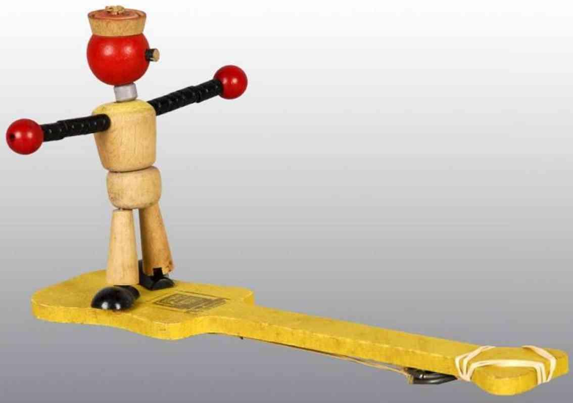Fisher-Price Holz Prototyp Mann auf einem Paddel