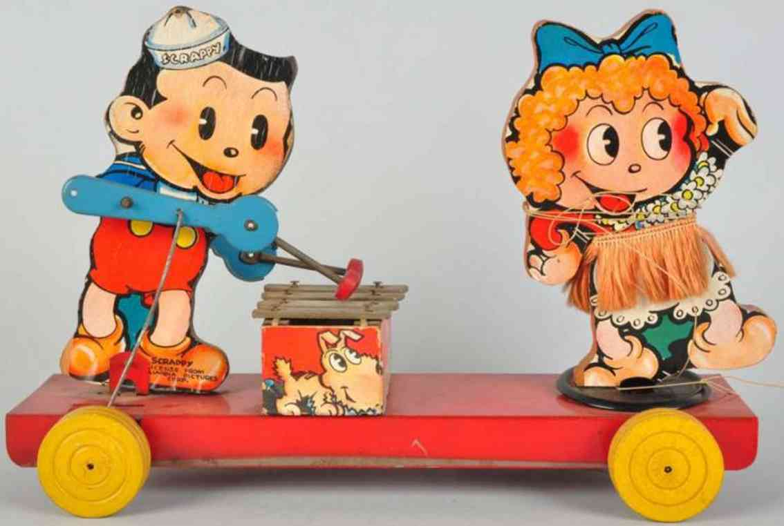 Gong Bell Scrappy und Margy Holzfiguren  auf Metall-Plattform Columbia Pictures Corp