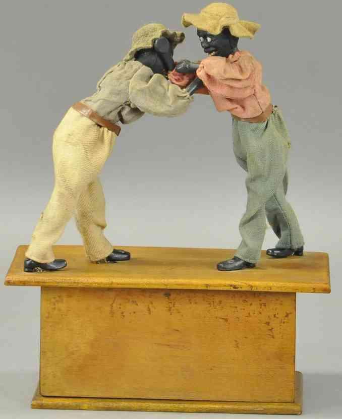 ives holz spielzeug 2 boxer uhrwerk zwei junge schwarze maenner
