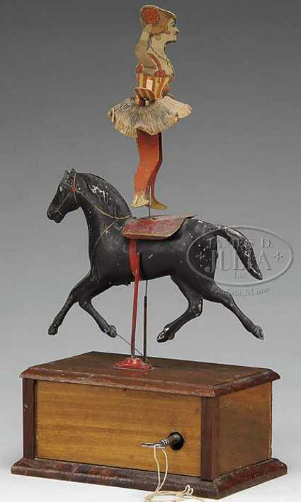 ives wooden toy clockwork circus rider with horse