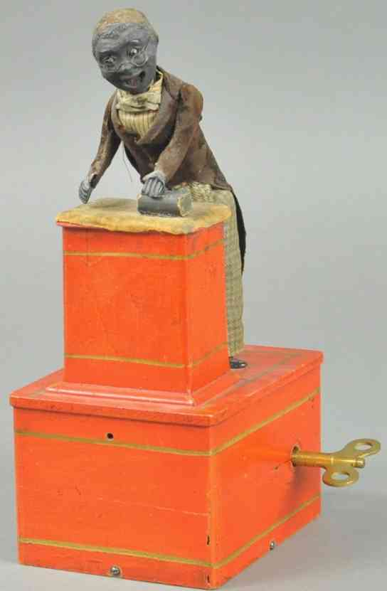ives wooden toy figure preacher at the pulpit red clockwork