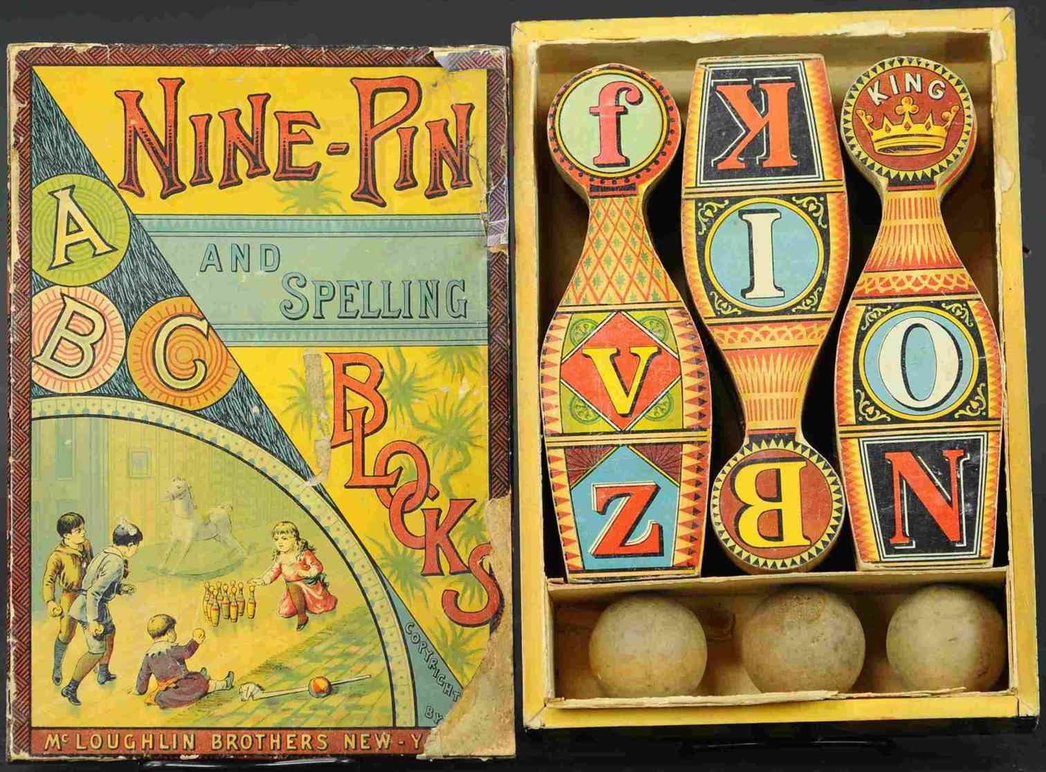 mcloughlin brothers toy nine pin set, early paper litho on wood