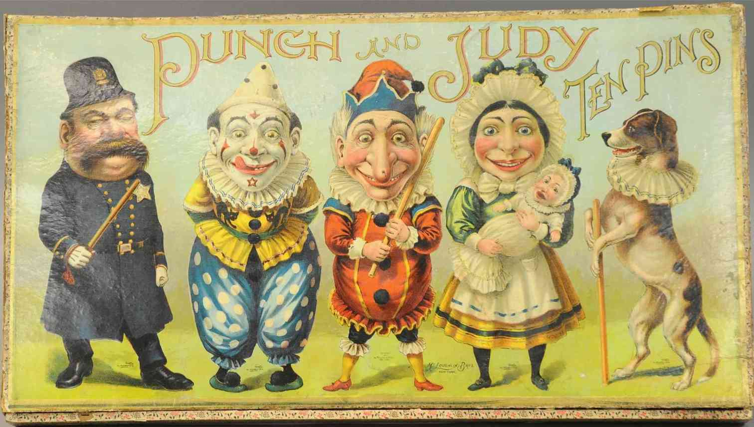 mcloughlin brothers wooden toy punch & judy ten pins game