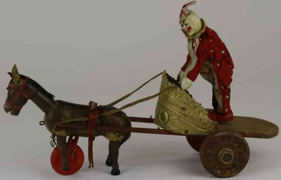 schoenhut holz spielzeug clown clown auf goldfarbenem streitwagen der von einem packesel mi