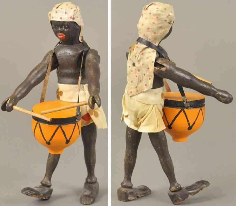 schoenhut holz spielzeug teddy safari afrikanischer eingeborener trommel