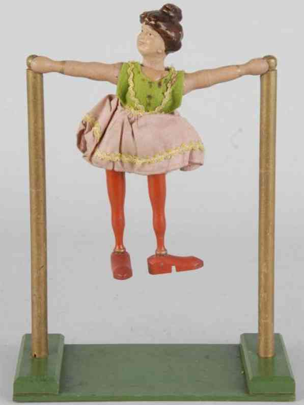 Schoenhut Female acrobat with rare single pole for high wire