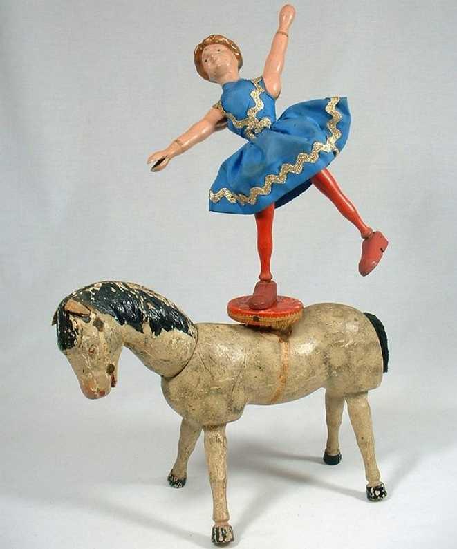 schoenhut holz spielzeug reiterin mit pferd