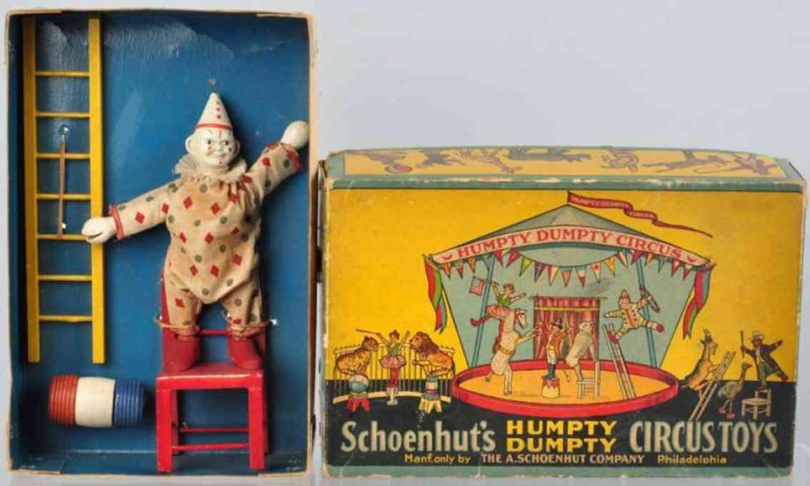 Schoenhut Humpty Dumpty circus set clown chair ladder barrel